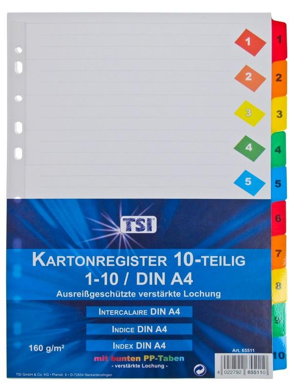 aus PP 5-farbig mit 10 blanko Taben 10 Ordner Register DIN A4